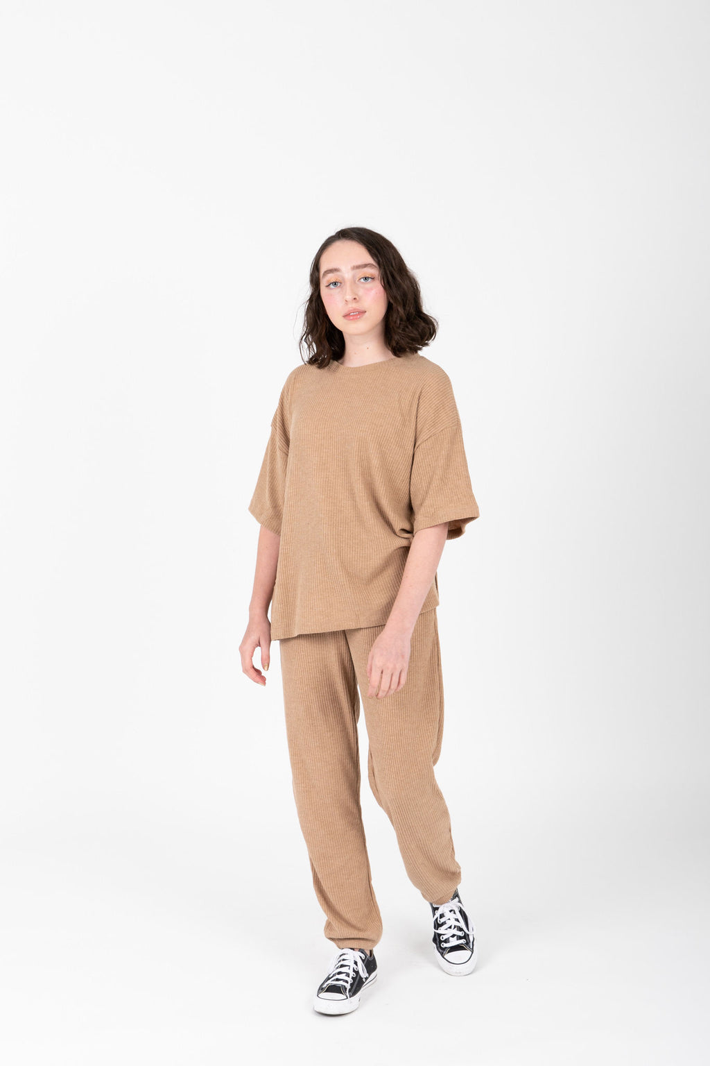 The Dale Cozy Ribbed Set in Light Camel, studio shoot; front view