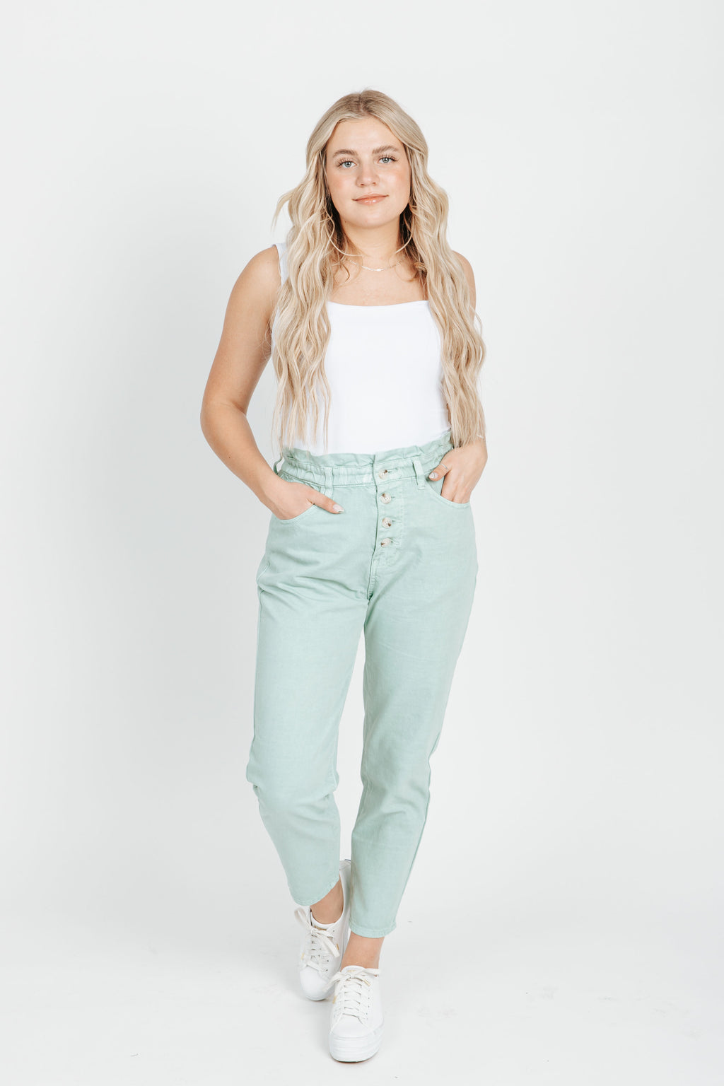 The Albany Paper Bag Trouser in Mint