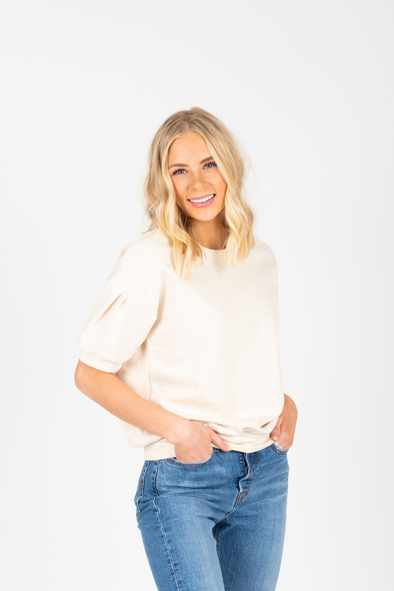 The Lauryn Puff Sleeve Blouse in Natural