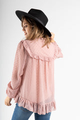 The Rolfe Swiss Ruffle Blouse in Blush