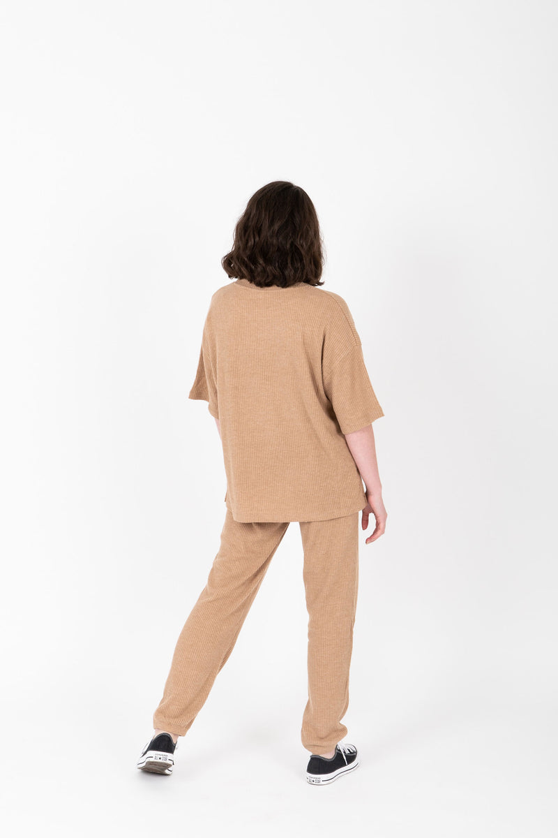 The Dale Cozy Ribbed Set in Light Camel, studio shoot; back view