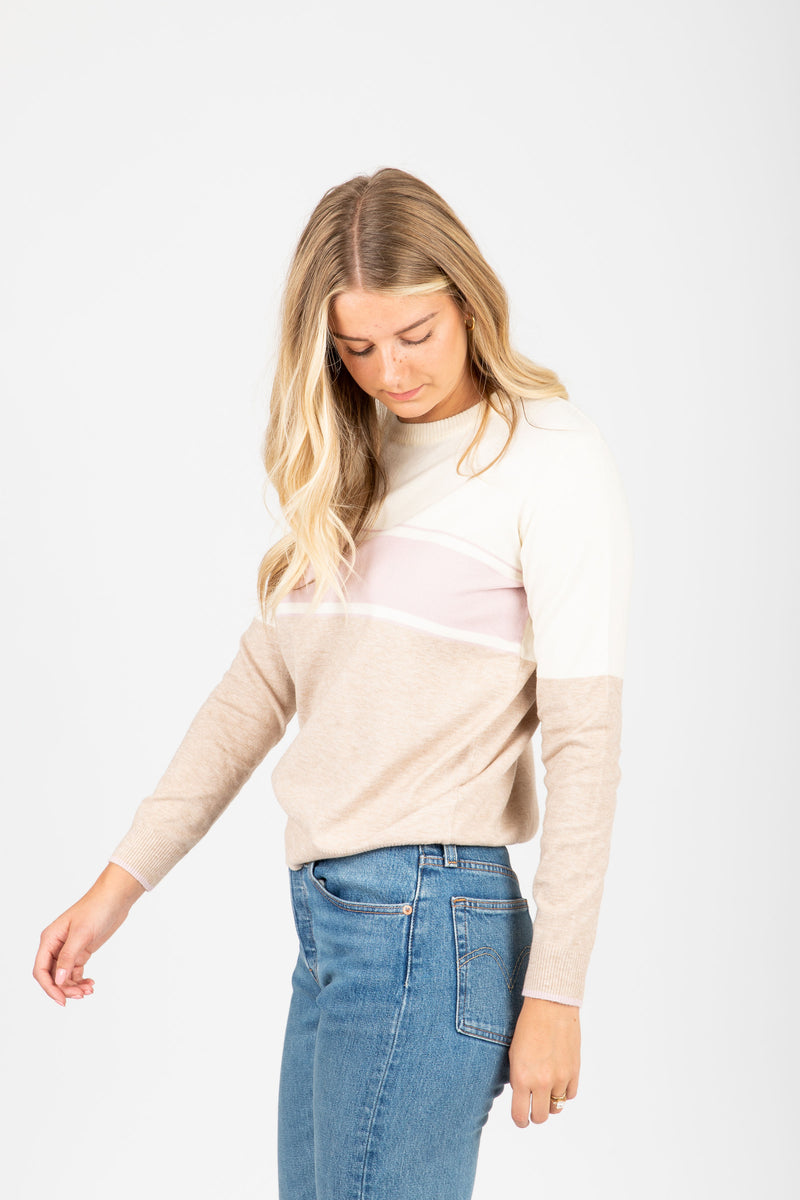 The Chamberlain Classic Striped Sweater in Blush, studio shoot; side view