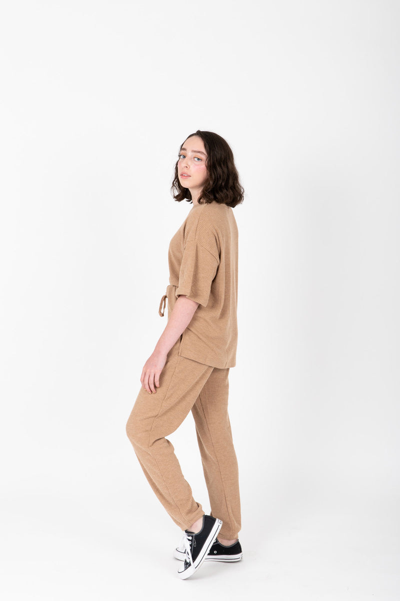 The Dale Cozy Ribbed Set in Light Camel, studio shoot; side view