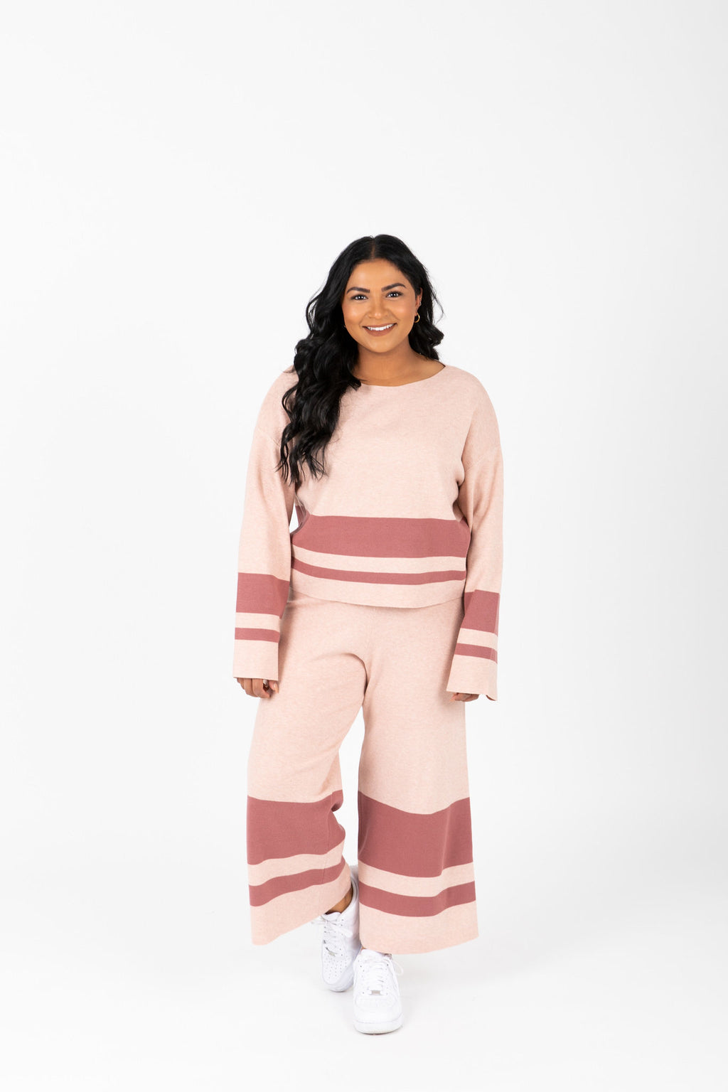 The Binx Striped Contrast Set in Mauve, studio shoot; front view