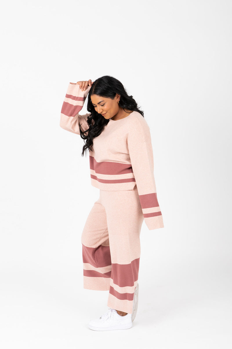 The Binx Striped Contrast Set in Mauve, studio shoot; side view