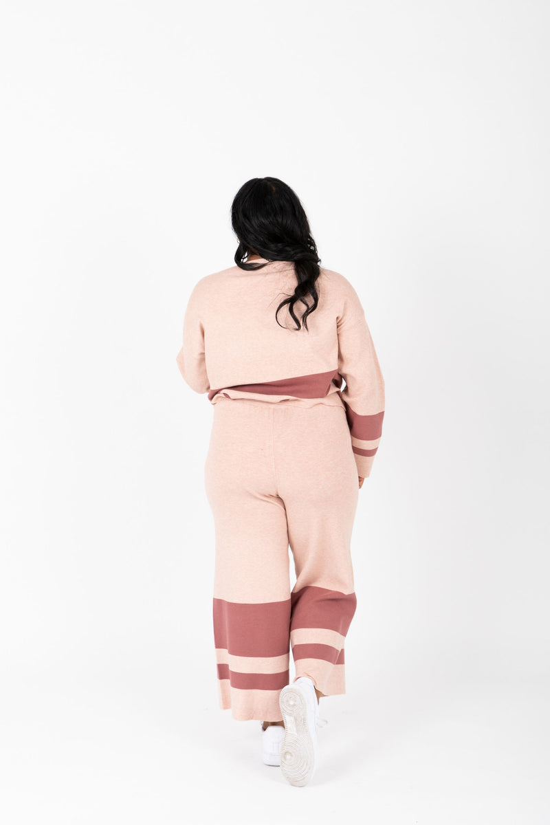 The Binx Striped Contrast Set in Mauve, studio shoot; back view