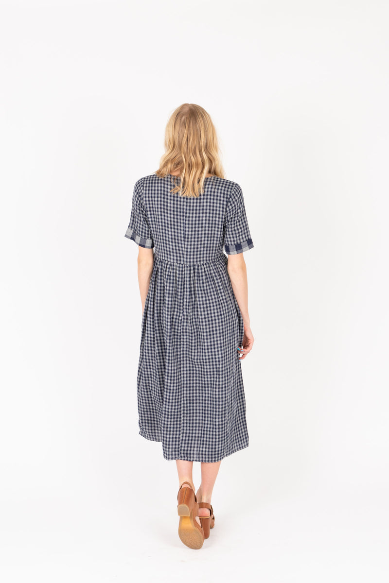 The Crosby Gingham Midi Dress in Navy, studio shoot; back view