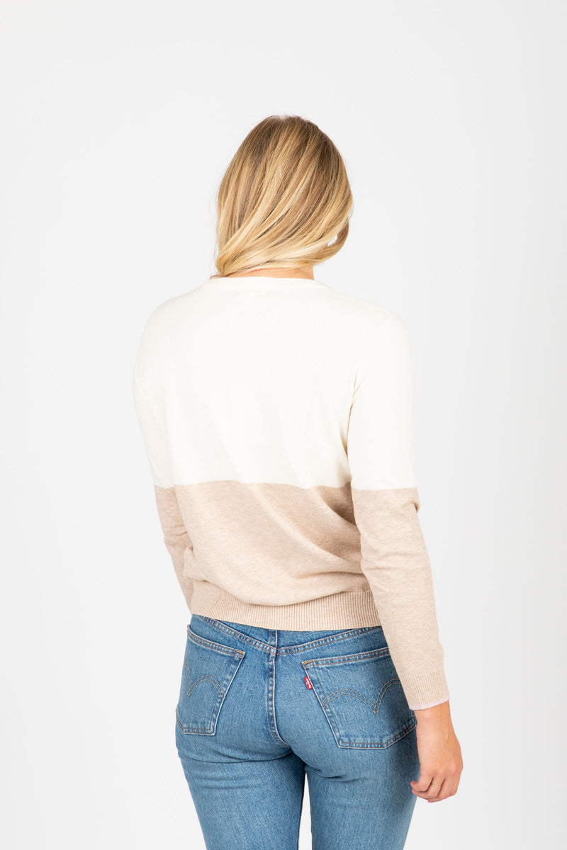 The Chamberlain Classic Striped Sweater in Blush, studio shoot; back view