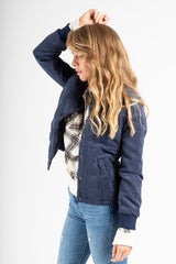 The Corduroy Padded Bomber Jacket in Navy