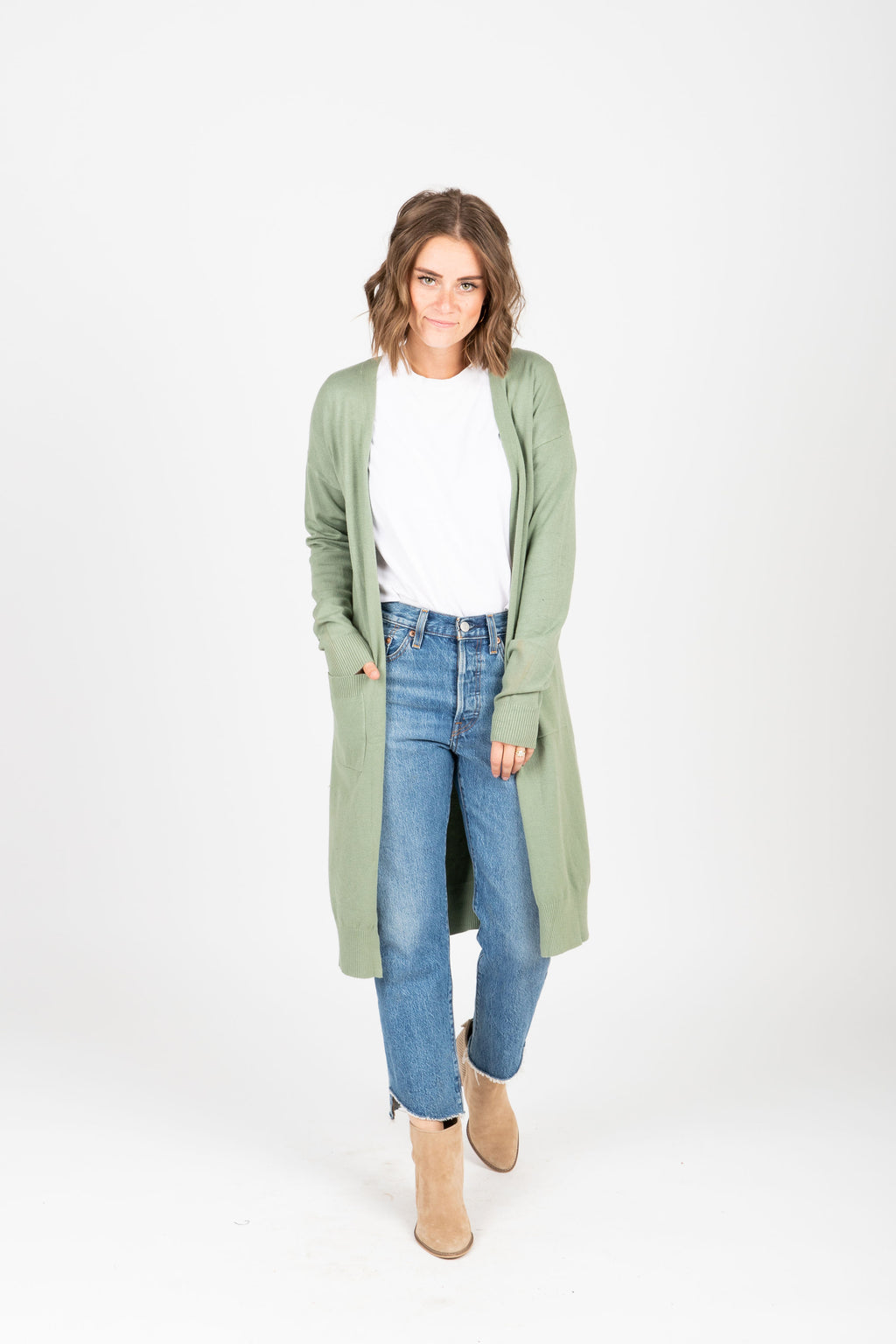 The Maeve Casual Long Cardigan in Olive, studio shoot; front view