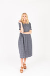 The Crosby Gingham Midi Dress in Navy, studio shoot; front view