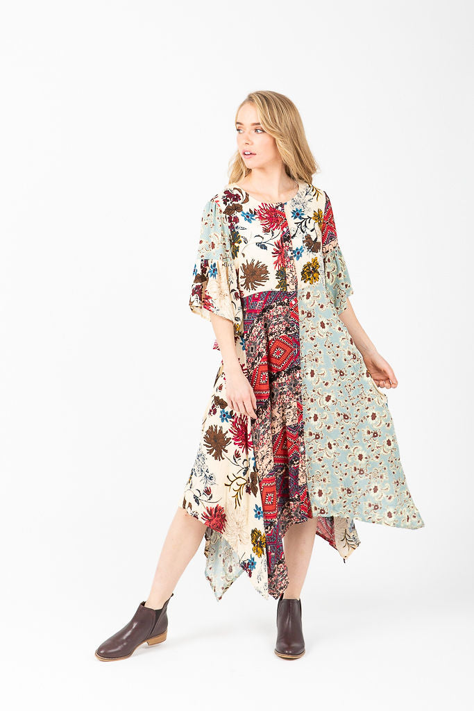 The Elyria Floral Patterned Dress in Cream