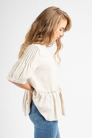 f80e7a87dd3fba The Pollock Patterned Ruffle Sleeve Blouse in Ivory – Piper   Scoot