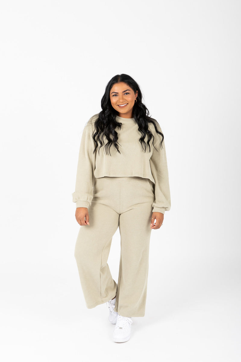 The Davia Casual Lounge Set in Faded Olive, studio shoot; front view