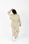 The Davia Casual Lounge Set in Faded Olive, studio shoot; back view