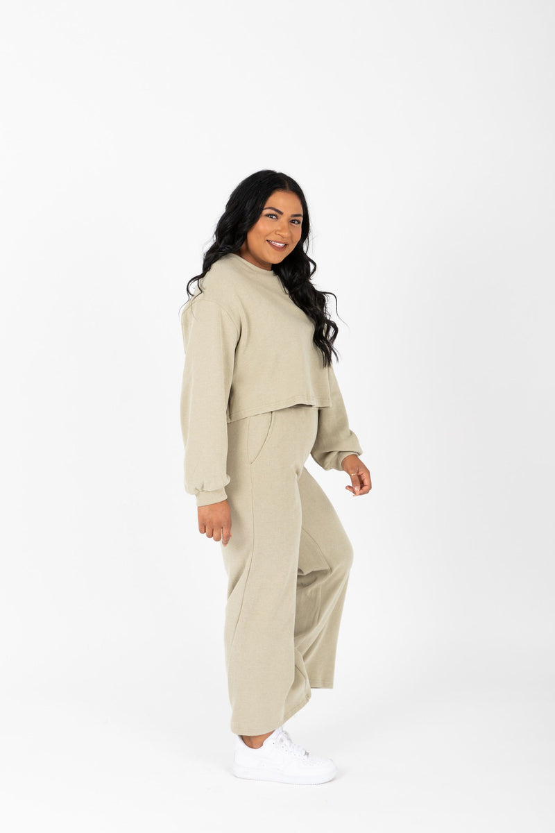 The Davia Casual Lounge Set in Faded Olive, studio shoot; side view