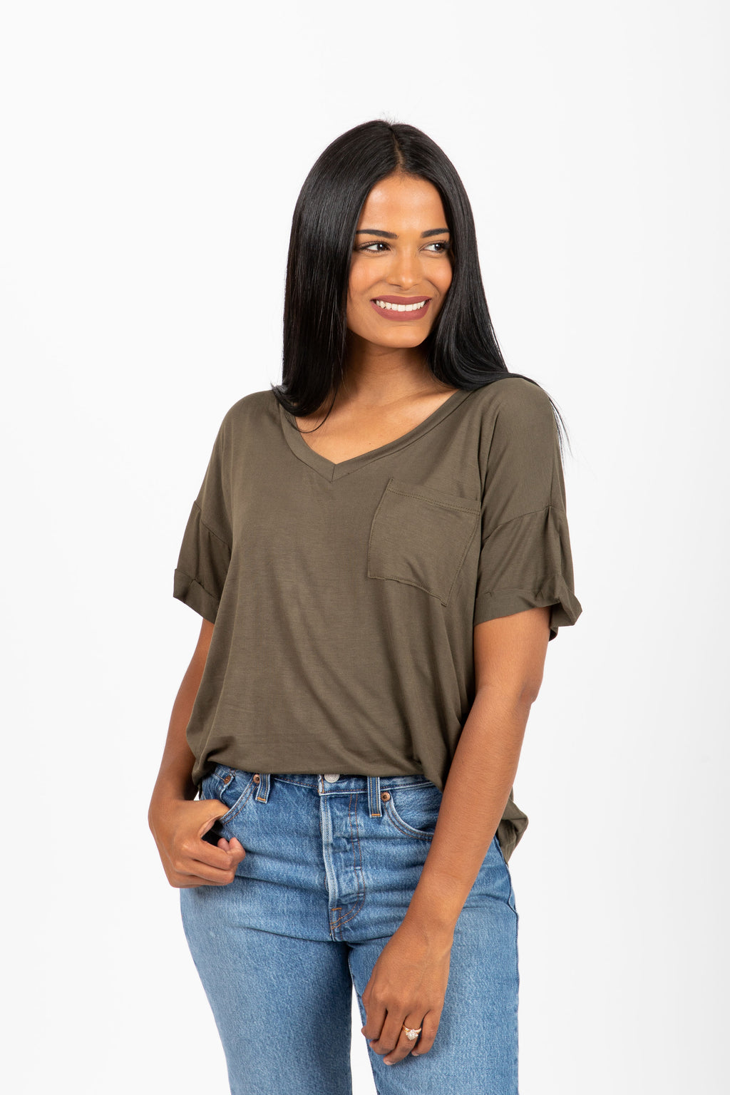 The Grin Pocket Blouse in Olive