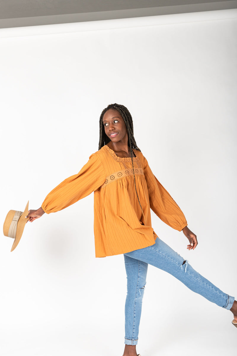 The Morris Textured Blouse in Faded Rust