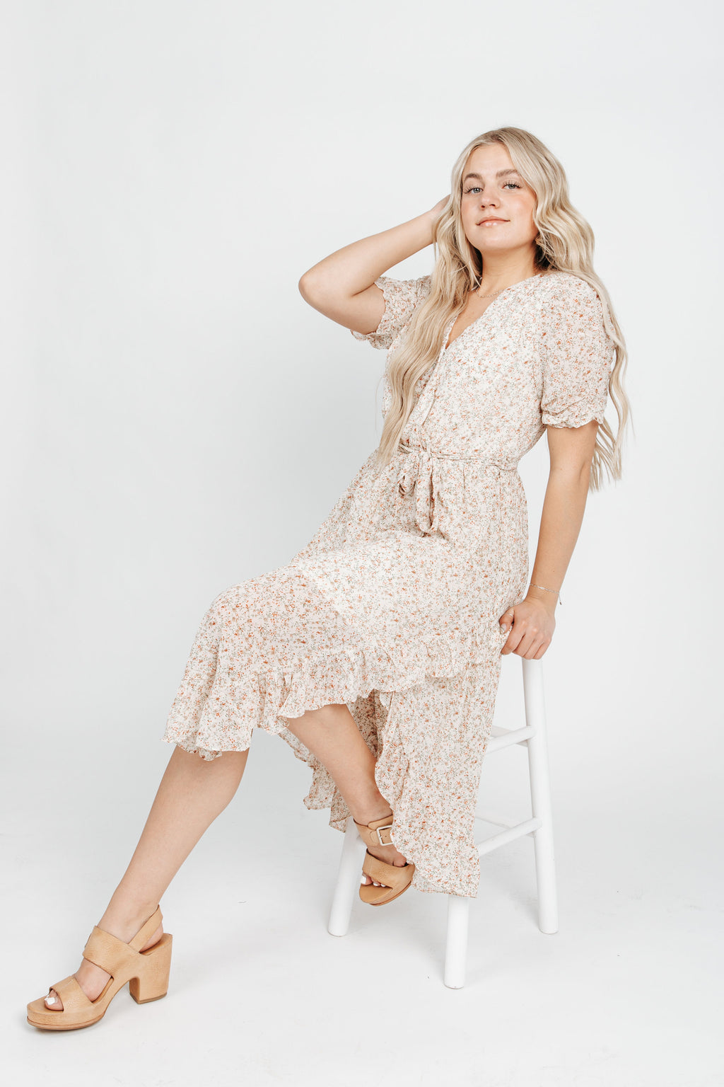 The Dayson Floral Tie Dress in Ivory, studio shoot; side view