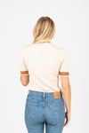 The Durand Striped Trim Ribbed Blouse in Ivory, studio shoot; back view