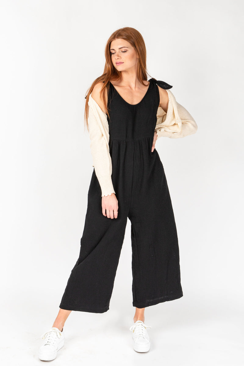 The Walton Jumpsuit in Black, studio shoot; front view