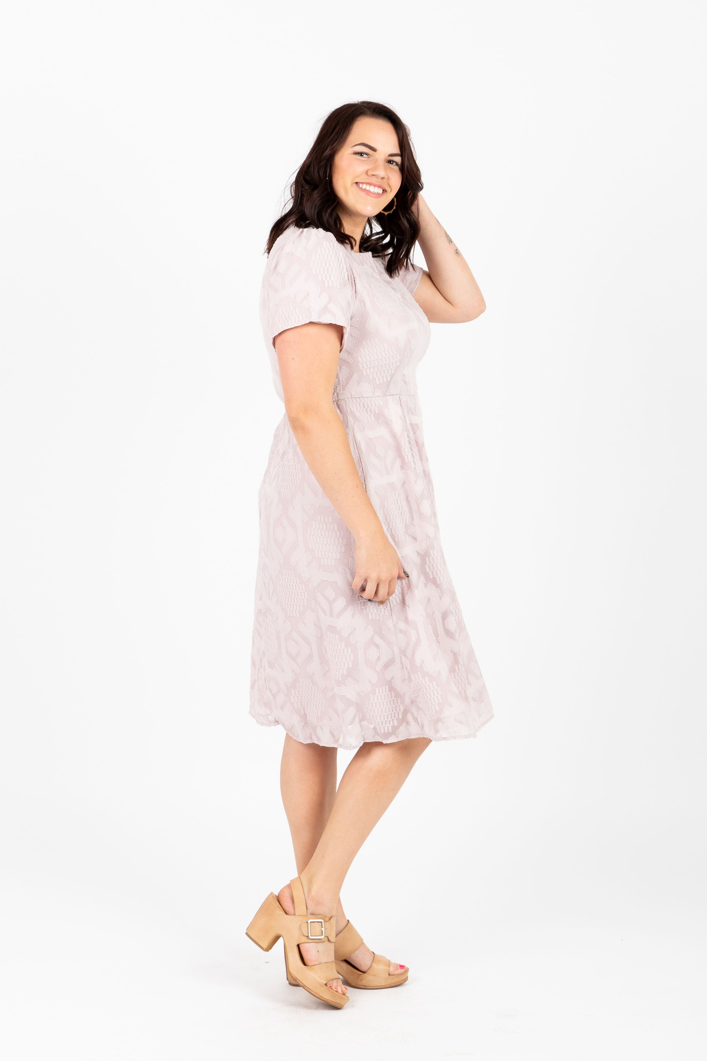 Piper & Scoot: The Grand Textured Lace Dress in Blush