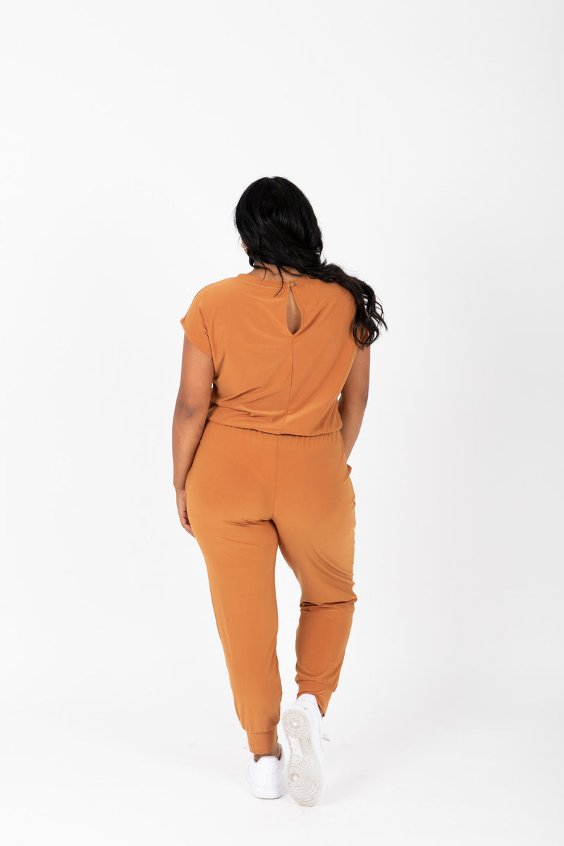 The Vernon Soft Casual Jumpsuit in Camel, studio shoot; back view