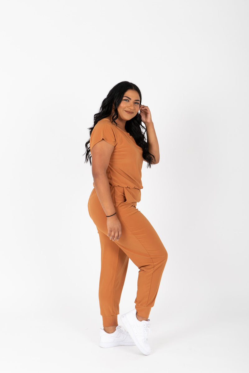 The Vernon Soft Casual Jumpsuit in Camel, studio shoot; side view