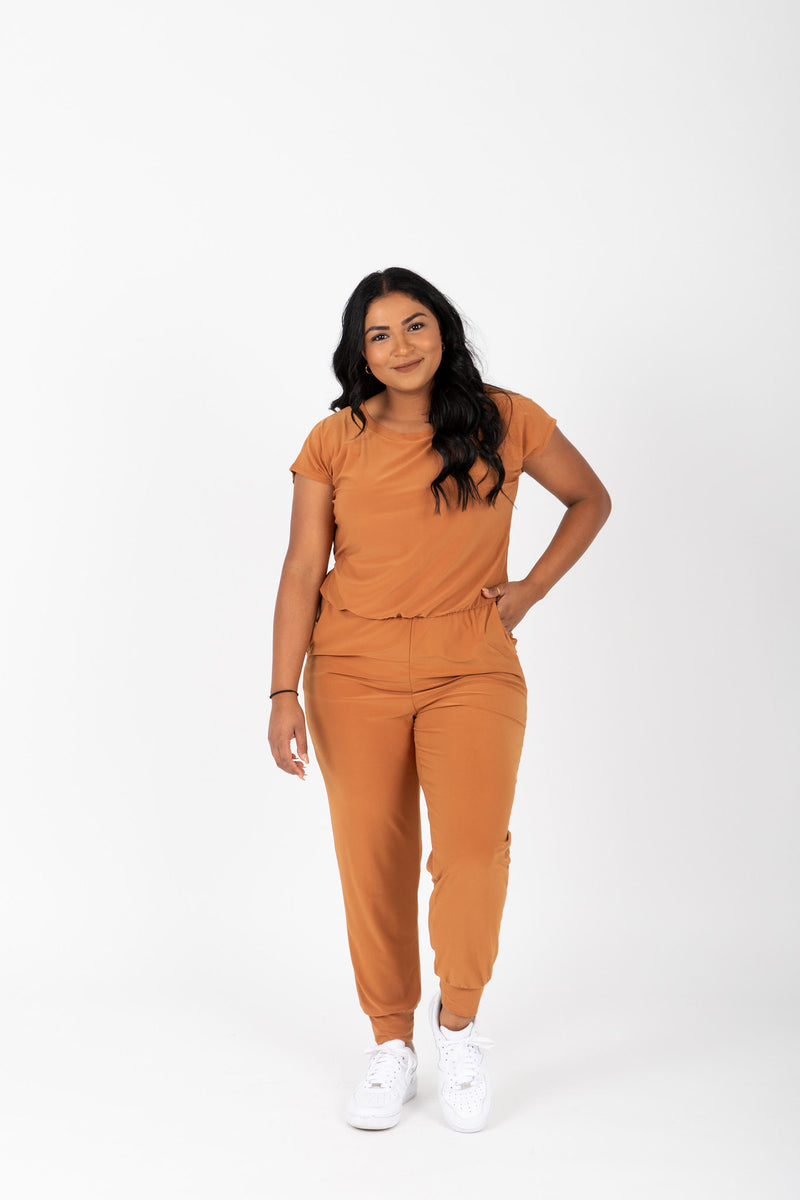 The Vernon Soft Casual Jumpsuit in Camel, studio shoot; front view