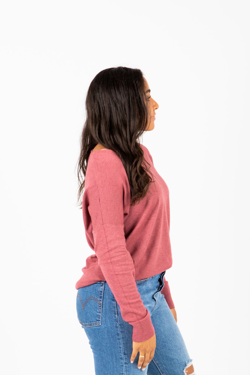 The Alanis Cozy Knit in Soft Berry, studio shoot; side view