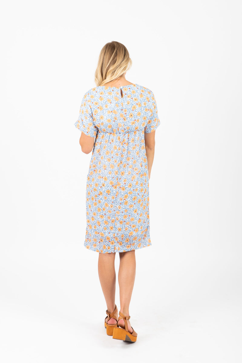 Piper & Scoot: The Haze Floral Bib Dress in Blue