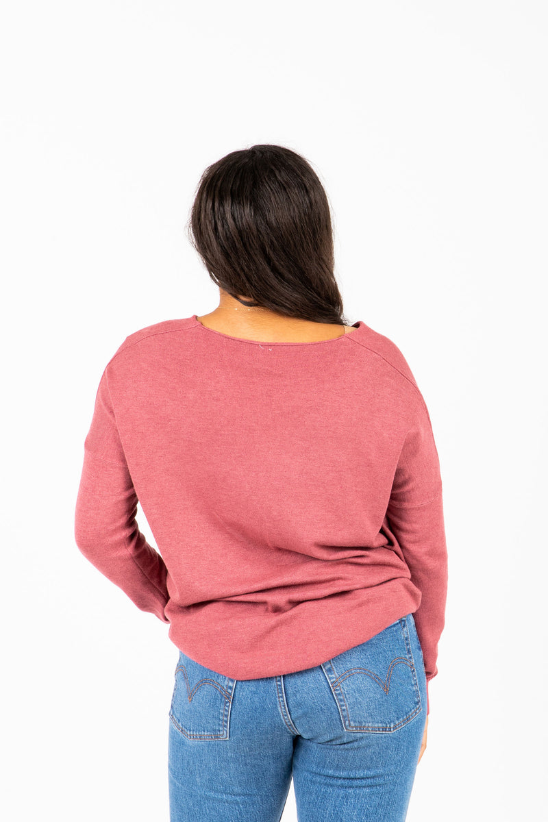 The Alanis Cozy Knit in Soft Berry, studio shoot; back view