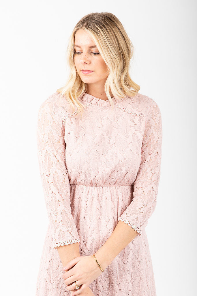 The Othello Lace Ruffle Dress in Blush