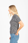 The Vaughan Leopard Blouse in Black, studio shoot; side view