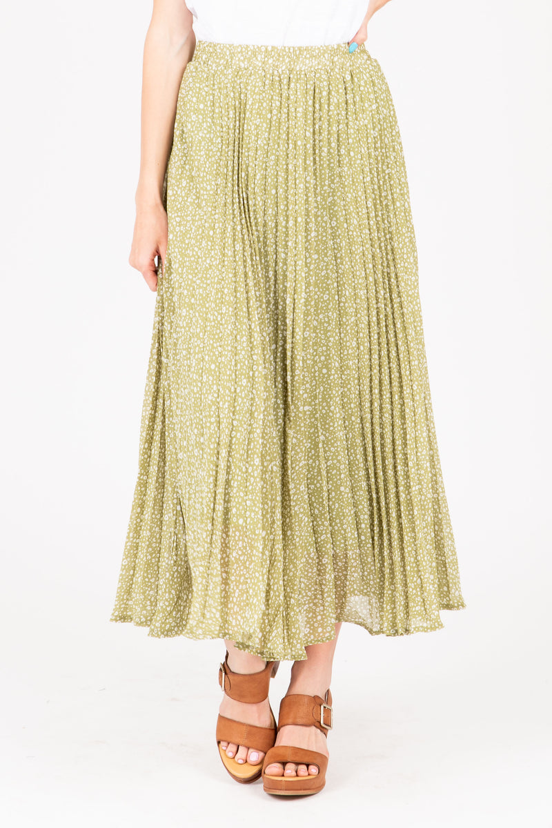 The Gibson Patterned Pleated Maxi Skirt in Dusty Green, studio shoot; front view