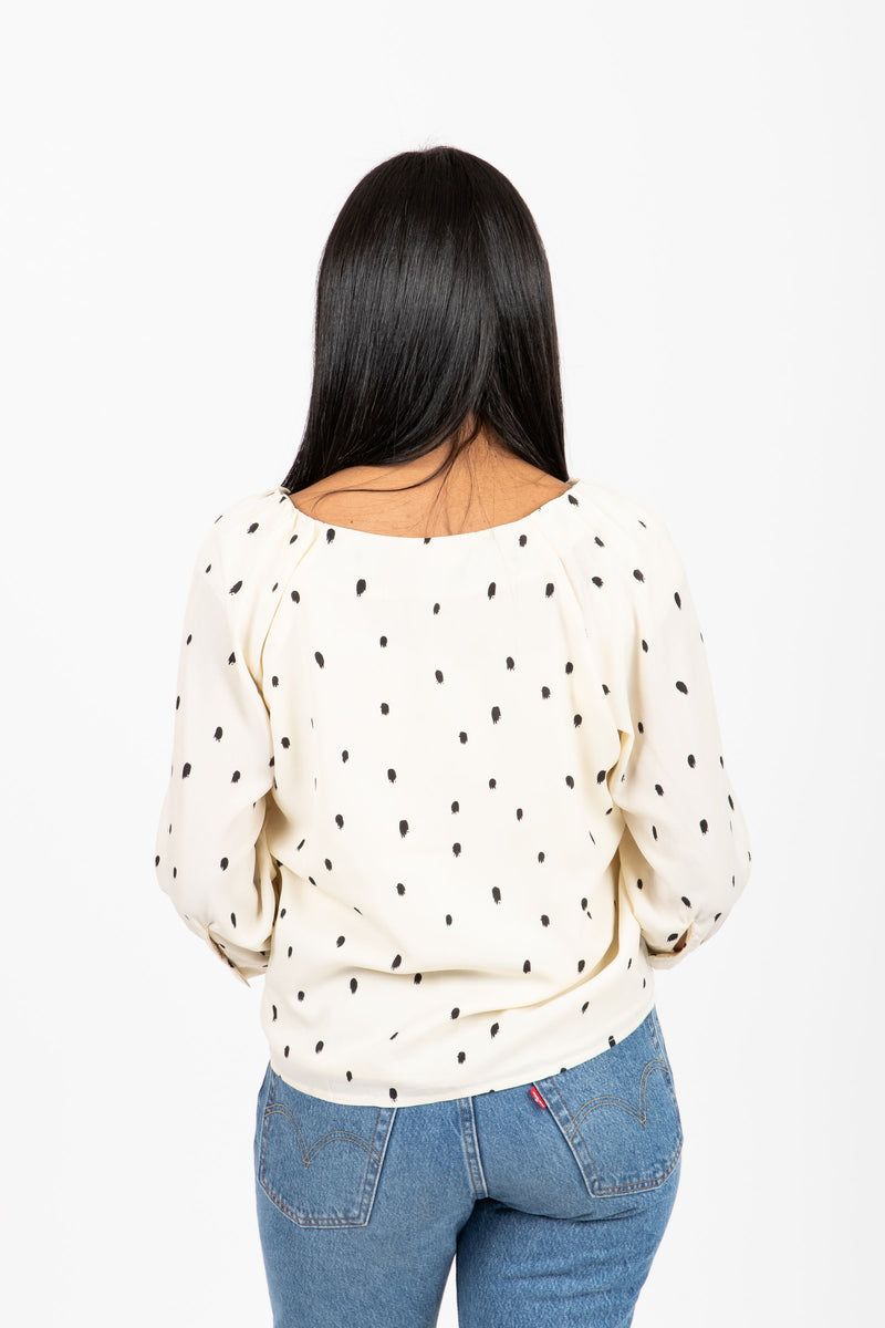 The Lightworks Print Button Blouse in Cream