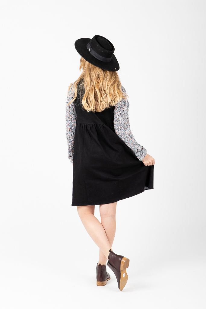 Piper & Scoot: The Samantha Denim Jumper Dress in Black