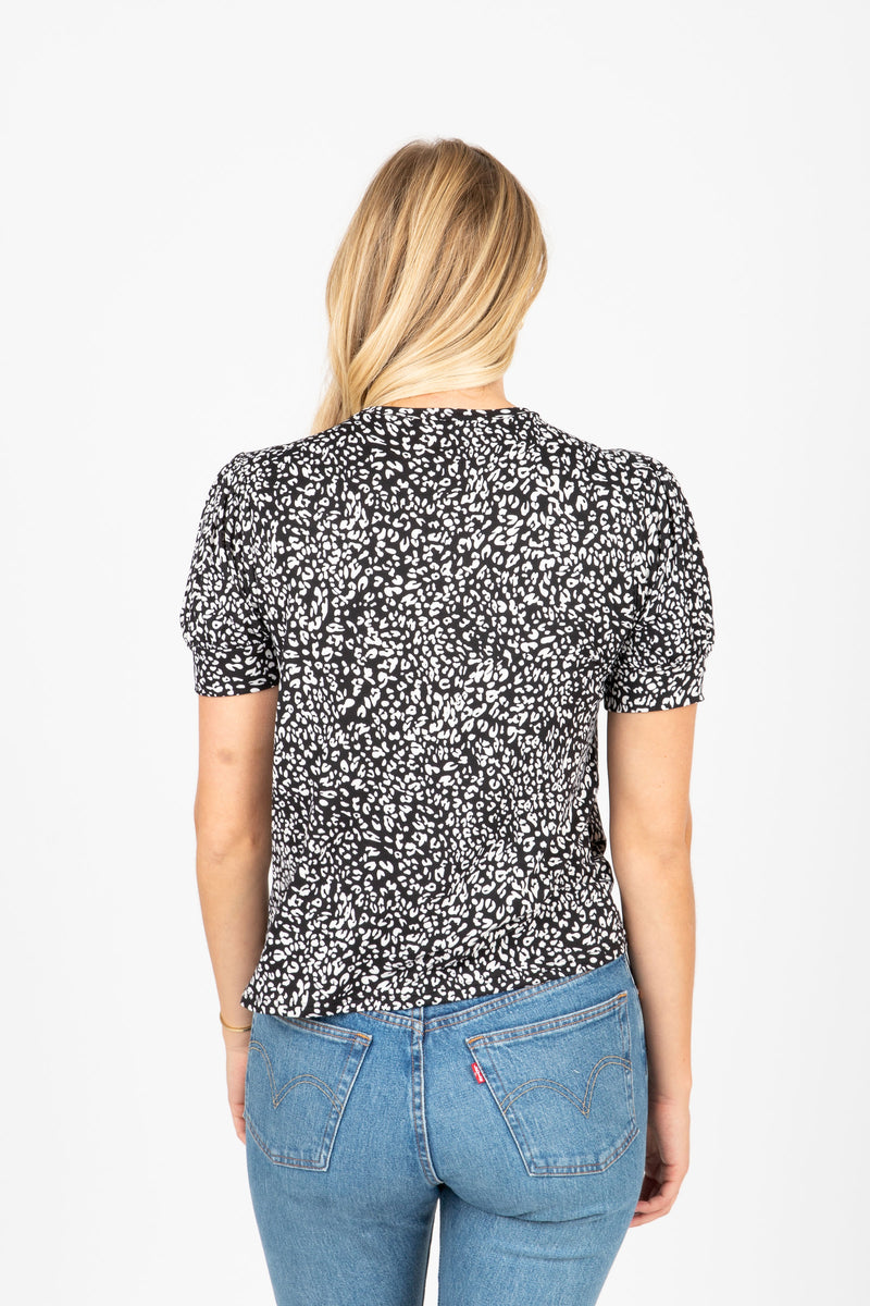 The Vaughan Leopard Blouse in Black, studio shoot; back view