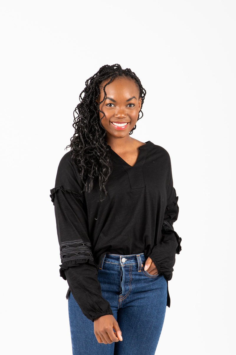 The Gayle Peasant Sleeve Blouse in Black, studio shoot; front view