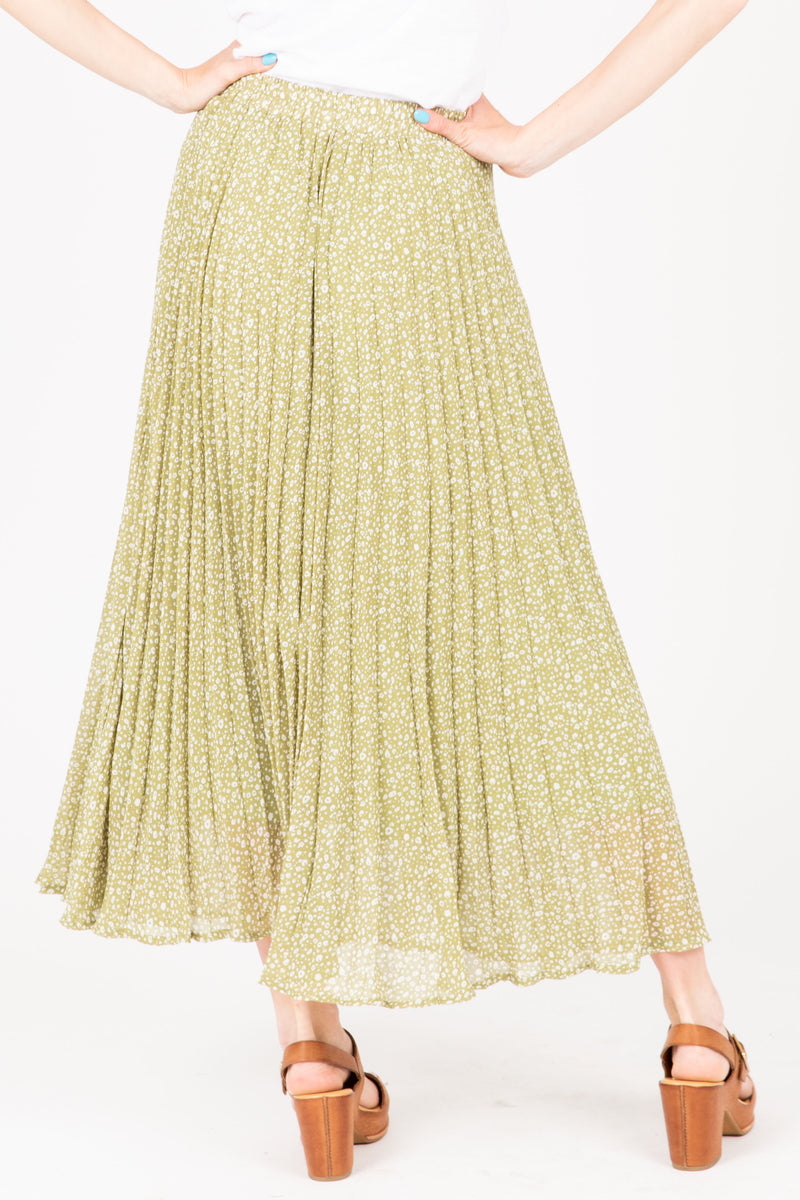 The Gibson Patterned Pleated Maxi Skirt in Dusty Green, studio shoot; back view