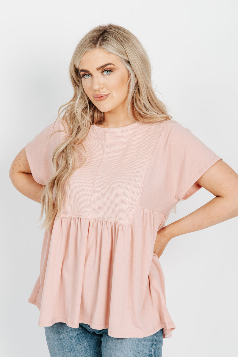 The Erin Waffle Knit Peplum Blouse in Blush