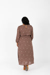 Piper & Scoot: The Alida Dress in Brun, studio shoot; back view