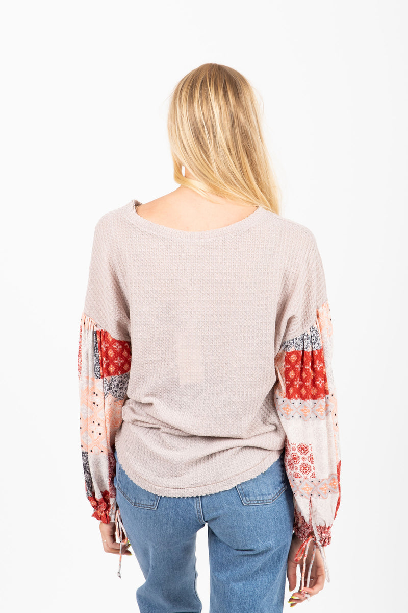 The Ballast Waffle Contrast Blouse in Grey