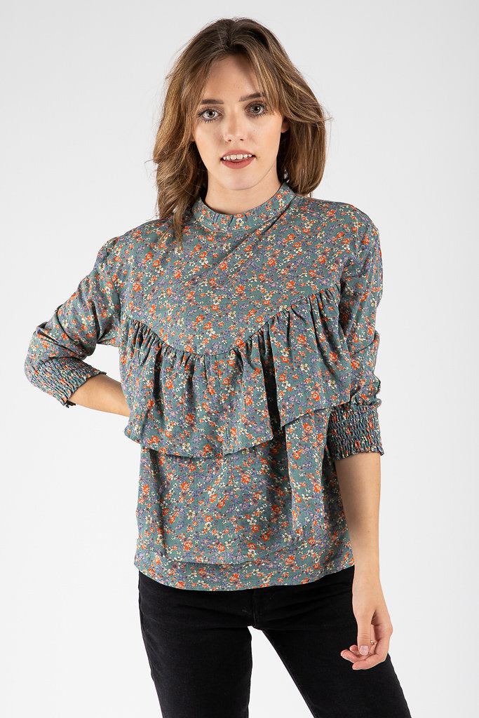 48ef2574393264 The Harper Floral Ruffle Blouse in Steel Green – Piper   Scoot