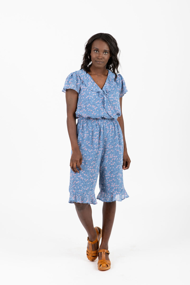 Piper & Scoot: The Jam Floral Ruffle Romper in Blue