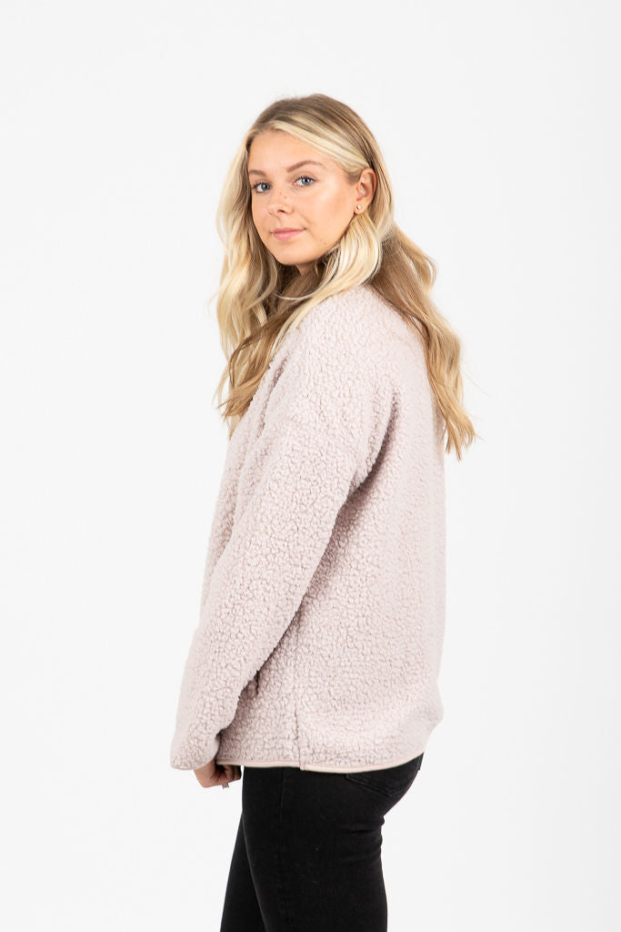 The Dalton Cozy Zip Up in Taupe