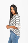 The Courser Striped Detail Blouse in White