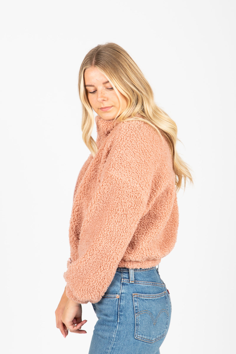 The Sims Sherpa Jacket in Rose, studio shoot; side view