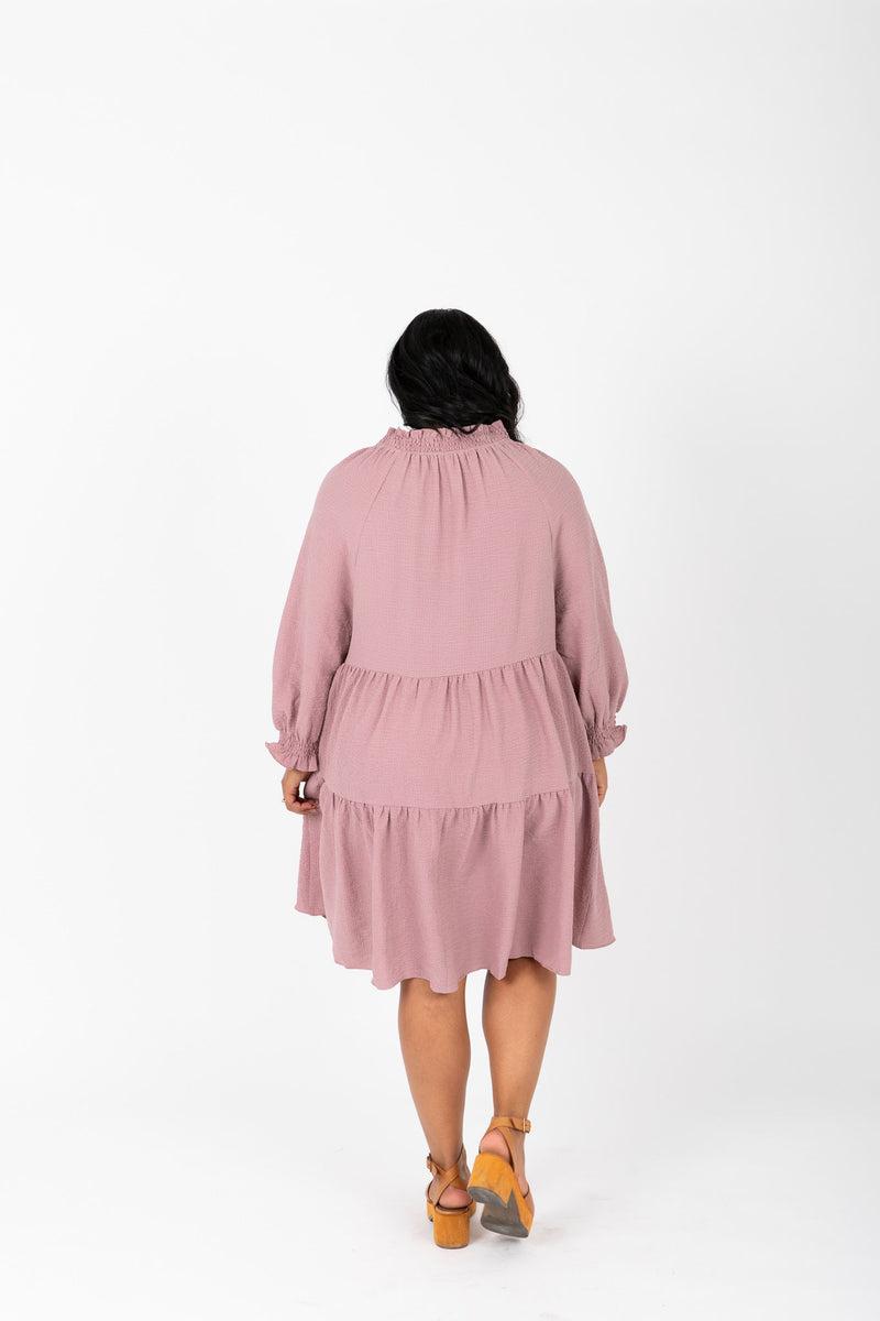 The Walsh Tiered Mini Dress in Mauve, studio shoot; back view