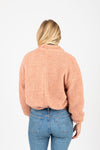 The Sims Sherpa Jacket in Rose, studio shoot; back view